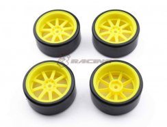 3Racing 1/10 9 Spoke Wheel & Tyre-Satz für Drift (5mm...