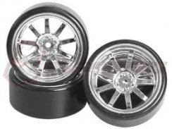 3Racing 1/10 9 Spoke Wheel & Tyre-Satz für Drift(7mm...