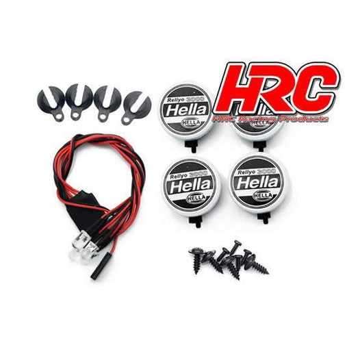 HRC Racing Light Kit - 1/10 or Monster Truck - LED - JR Plug - Hella Cover - 4x White LED